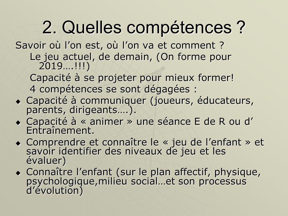 2. Quelles compétences . Savoir où l'on est, où l'on va et comment .