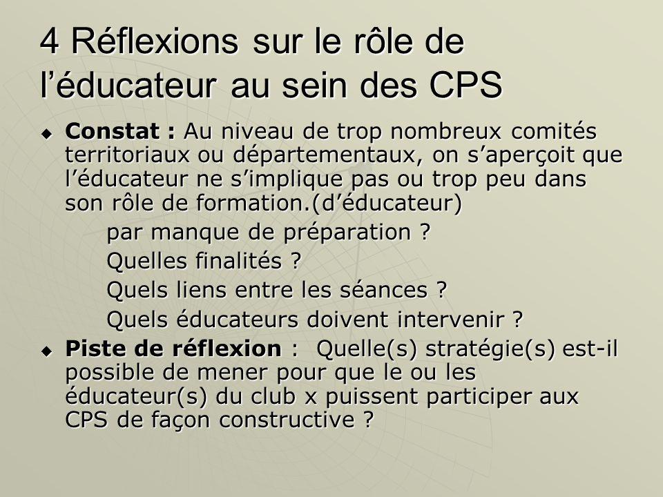 4 Réflexions sur le rôle de l'éducateur au sein des CPS  Constat : Au niveau de trop nombreux comités territoriaux ou départementaux, on s'aperçoit que l'éducateur ne s'implique pas ou trop peu dans son rôle de formation.(d'éducateur) par manque de préparation .