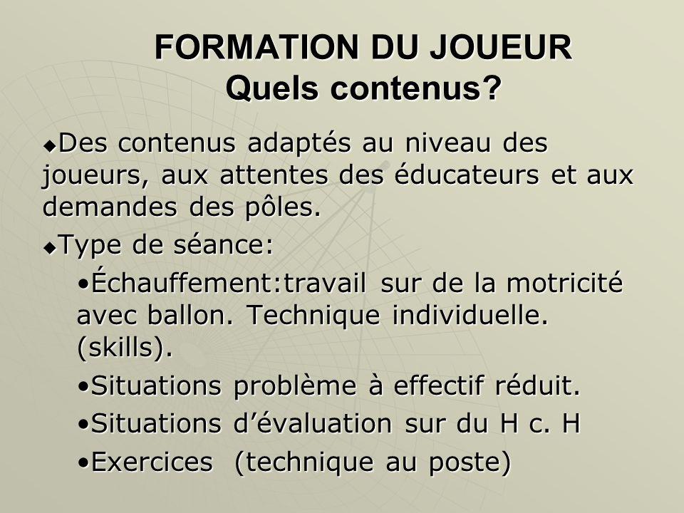FORMATION DU JOUEUR Quels contenus.