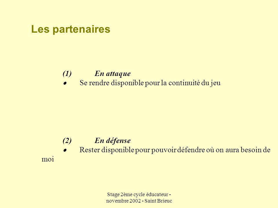 Stage 2ème cycle éducateur - novembre 2002 - Saint Brieuc Les adversaires (1) En attaque  Prendre conscience que mes déplacements modifient ceux de mes adversaires (2) En défense  Arrêter le PB ou la circulation du ballon .