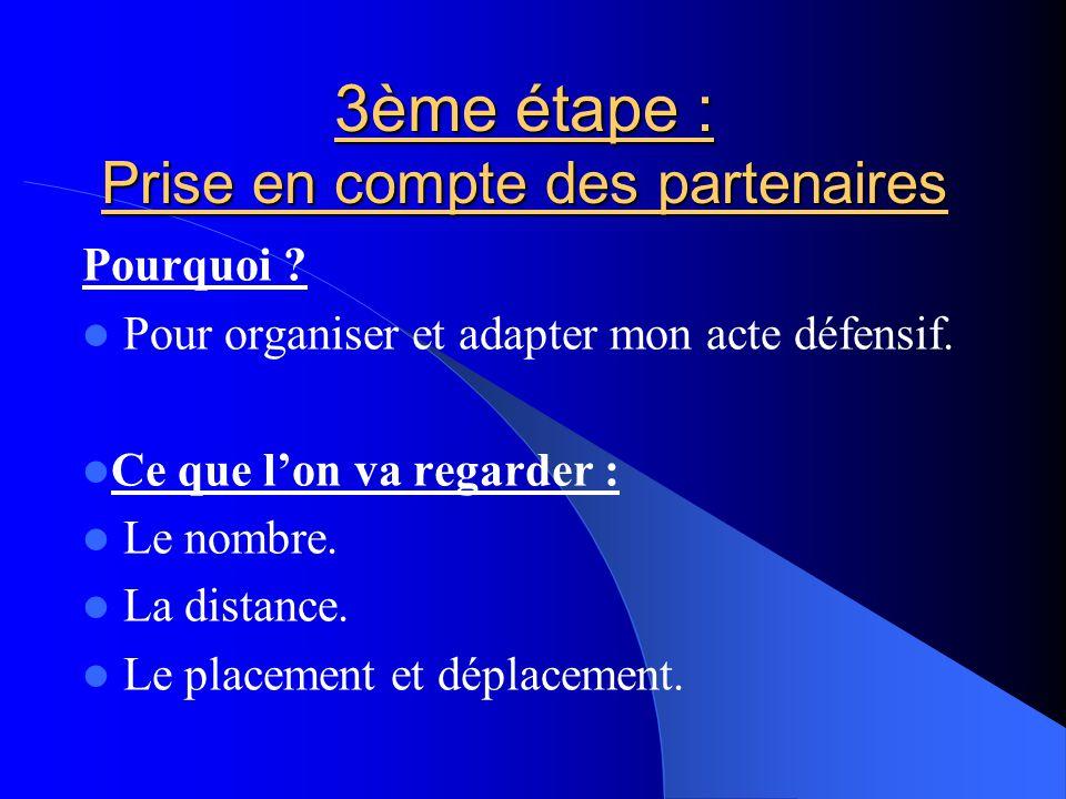 3ème étape : Prise en compte des partenaires Pourquoi ? Pour organiser et adapter mon acte défensif. Ce que l'on va regarder : Le nombre. La distance.