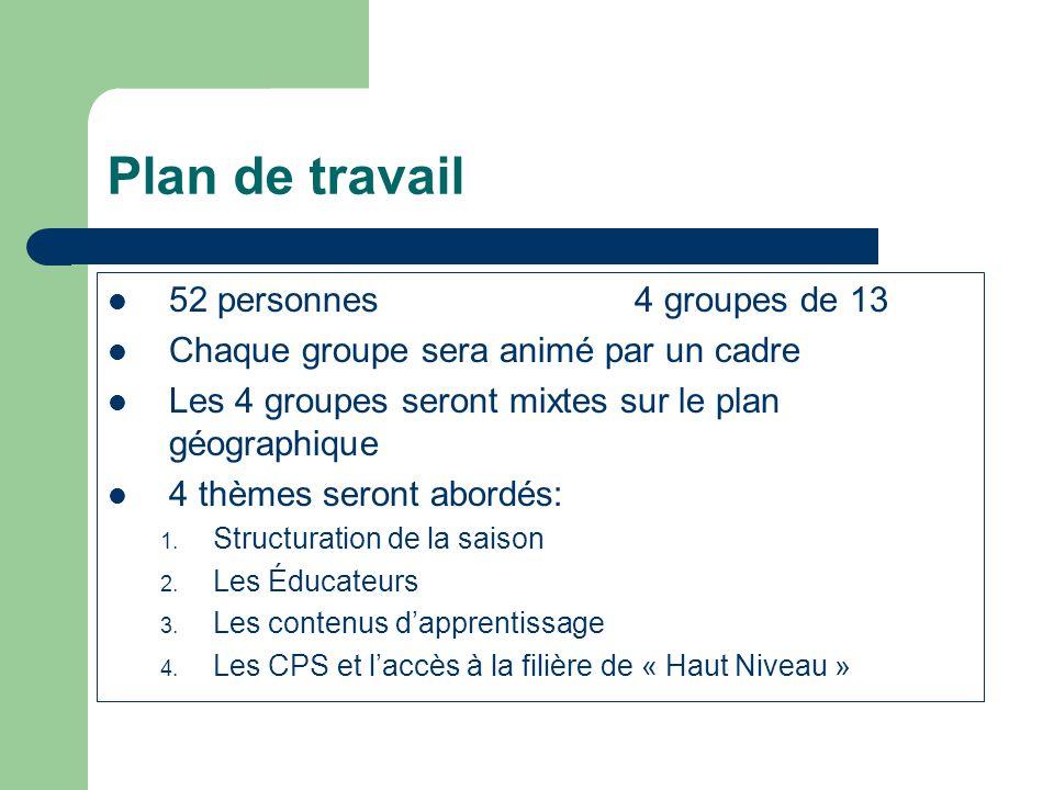 Plan de travail 52 personnes4 groupes de 13 Chaque groupe sera animé par un cadre Les 4 groupes seront mixtes sur le plan géographique 4 thèmes seront