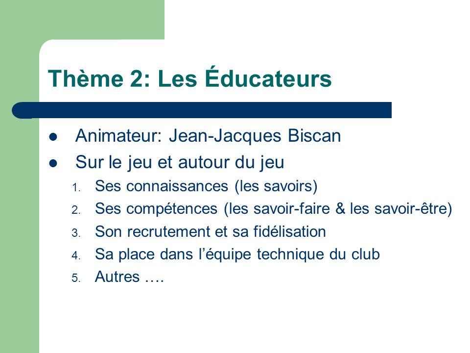 Thème 2: Les Éducateurs Animateur: Jean-Jacques Biscan Sur le jeu et autour du jeu 1. Ses connaissances (les savoirs) 2. Ses compétences (les savoir-f
