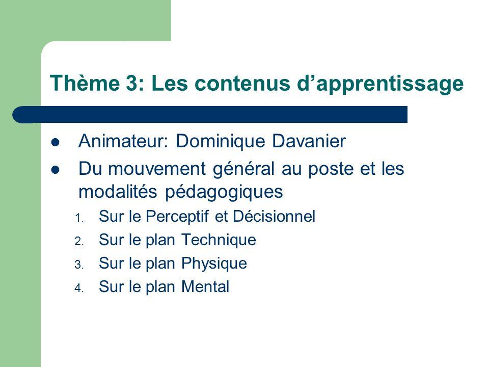 Thème 3: Les contenus d'apprentissage Animateur: Dominique Davanier Du mouvement général au poste et les modalités pédagogiques 1. Sur le Perceptif et