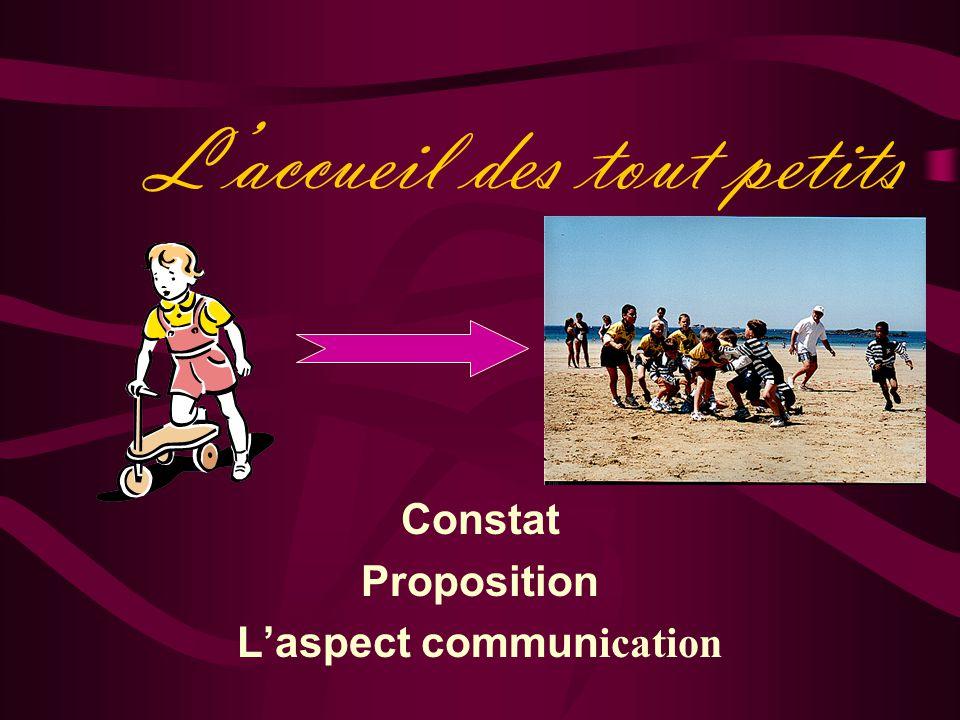L'accueil des tout petits Constat Proposition L'aspect commun ication