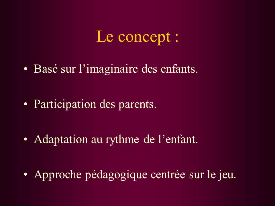 Le concept : Basé sur l'imaginaire des enfants. Participation des parents.