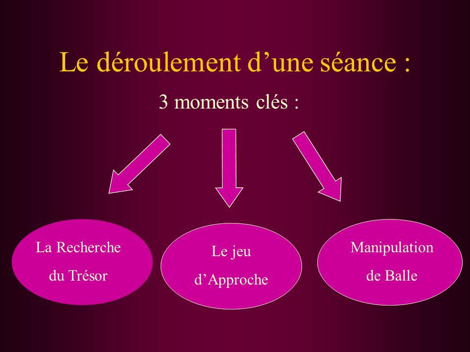 Le déroulement d'une séance : 3 moments clés : La Recherche du Trésor Le jeu d'Approche Manipulation de Balle