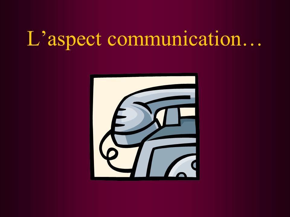 L'aspect communication…