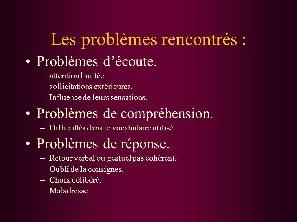 Les problèmes rencontrés : Problèmes d'écoute. –attention limitée.