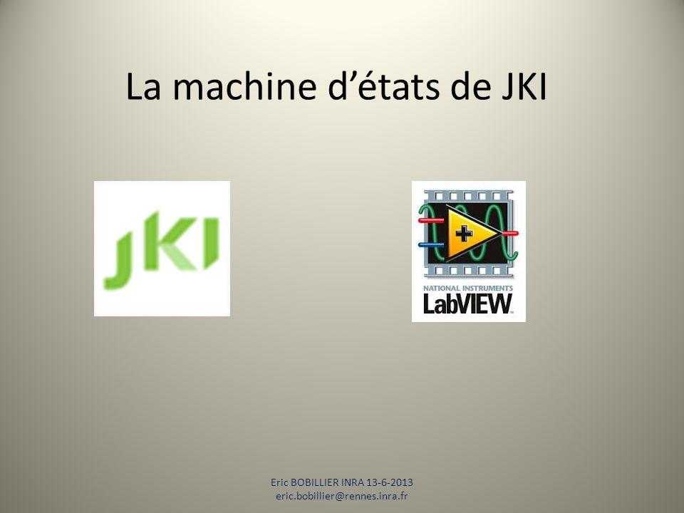 La machine d'états de JKI Rappels sur les machines d'états Présentation de la machine d'états de JKI Avantages et inconvénients Exemple Liens Eric BOBILLIER INRA 13-6-2013 eric.bobillier@rennes.inra.fr