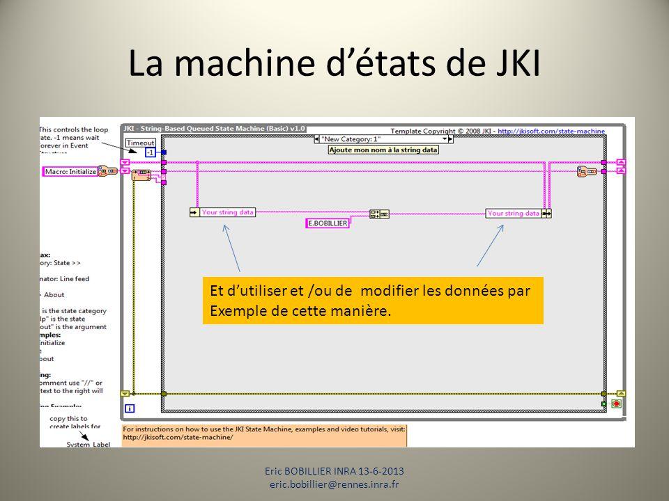 La machine d'états de JKI Eric BOBILLIER INRA 13-6-2013 eric.bobillier@rennes.inra.fr Et d'utiliser et /ou de modifier les données par Exemple de cett