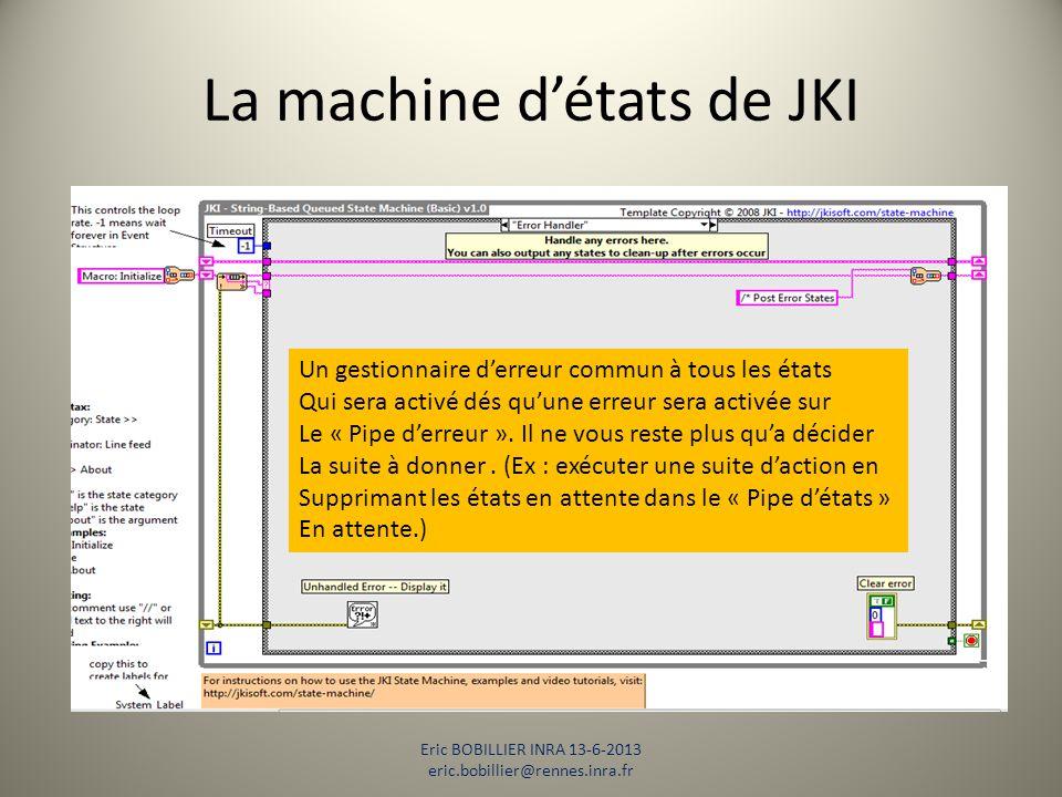 La machine d'états de JKI Eric BOBILLIER INRA 13-6-2013 eric.bobillier@rennes.inra.fr Un gestionnaire d'erreur commun à tous les états Qui sera activé