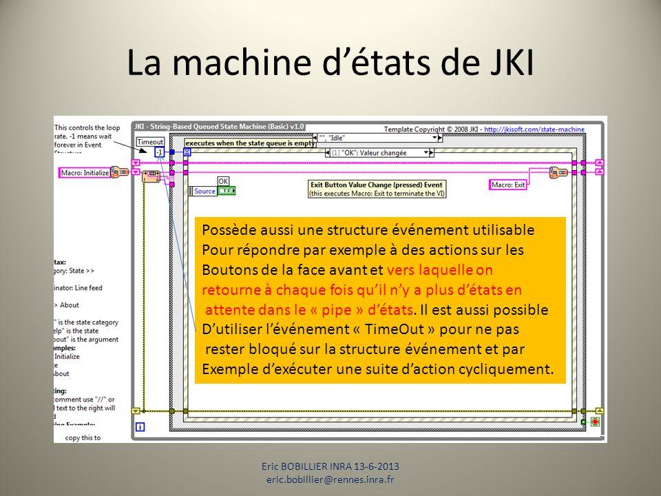 La machine d'états de JKI Eric BOBILLIER INRA 13-6-2013 eric.bobillier@rennes.inra.fr Possède aussi une structure événement utilisable Pour répondre p
