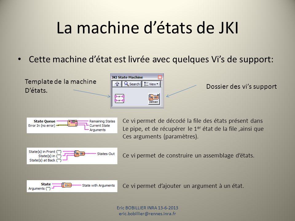 La machine d'états de JKI Cette machine d'état est livrée avec quelques Vi's de support: Eric BOBILLIER INRA 13-6-2013 eric.bobillier@rennes.inra.fr T