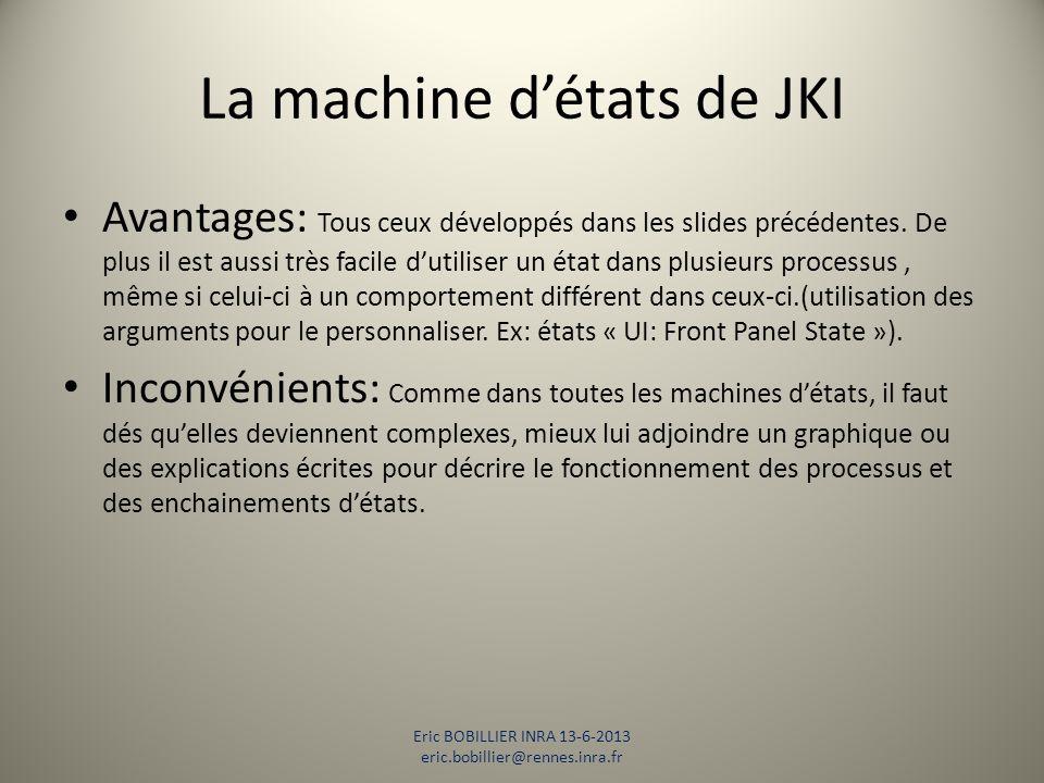 La machine d'états de JKI Avantages: Tous ceux développés dans les slides précédentes. De plus il est aussi très facile d'utiliser un état dans plusie