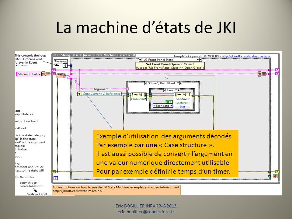 La machine d'états de JKI Eric BOBILLIER INRA 13-6-2013 eric.bobillier@rennes.inra.fr Exemple d'utilisation des arguments décodés Par exemple par une