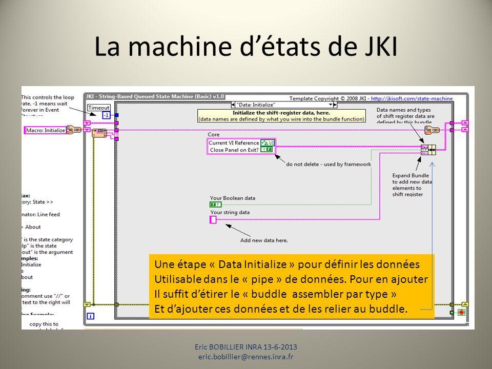 La machine d'états de JKI Eric BOBILLIER INRA 13-6-2013 eric.bobillier@rennes.inra.fr Une étape « Data Initialize » pour définir les données Utilisabl