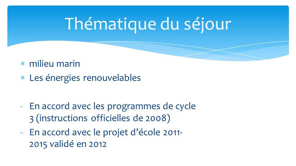  milieu marin  Les énergies renouvelables -En accord avec les programmes de cycle 3 (instructions officielles de 2008) -En accord avec le projet d'école 2011- 2015 validé en 2012 Thématique du séjour