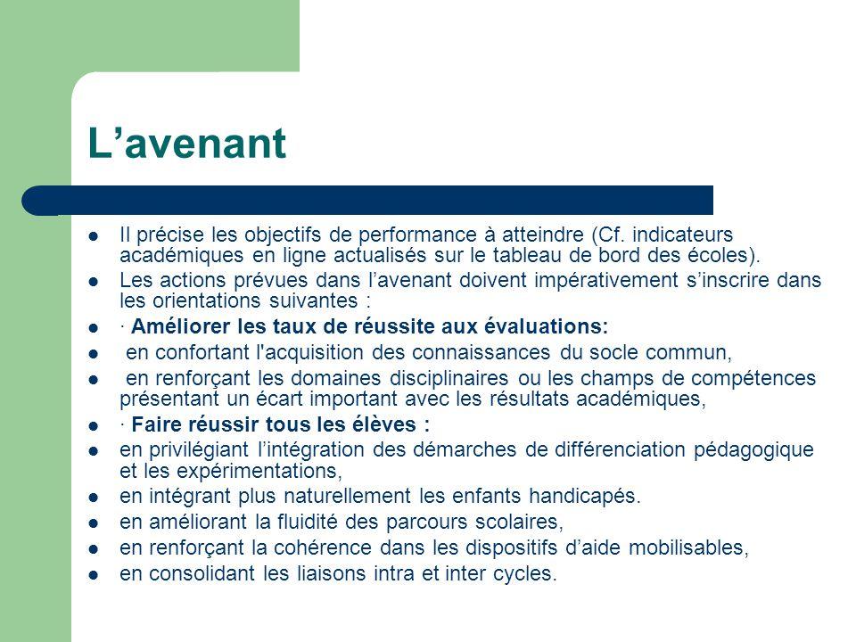L'avenant Il précise les objectifs de performance à atteindre (Cf.