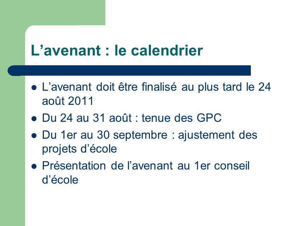 L'avenant : le calendrier L'avenant doit être finalisé au plus tard le 24 août 2011 Du 24 au 31 août : tenue des GPC Du 1er au 30 septembre : ajustement des projets d'école Présentation de l'avenant au 1er conseil d'école