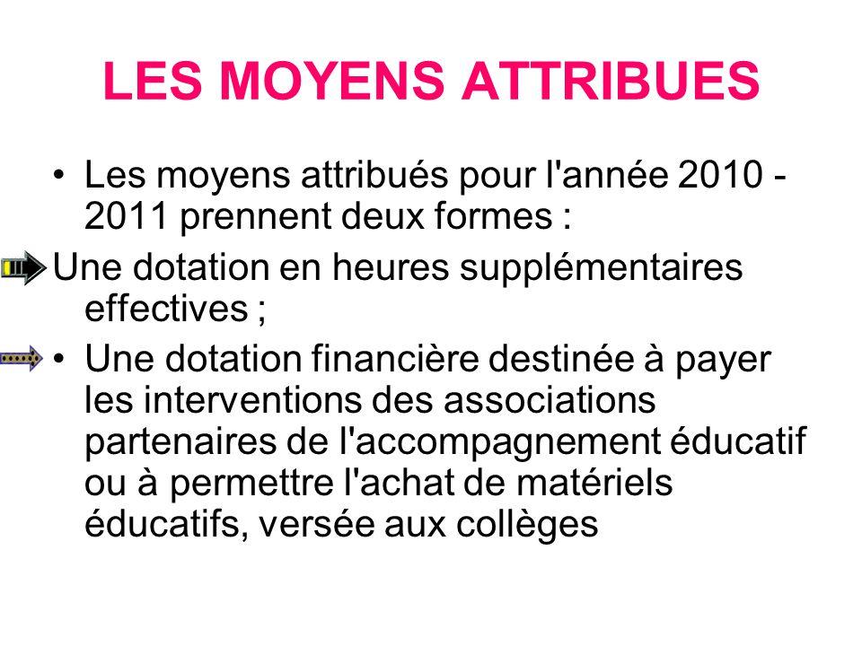 LES MOYENS ATTRIBUES Les moyens attribués pour l'année 2010 - 2011 prennent deux formes : Une dotation en heures supplémentaires effectives ; Une dota
