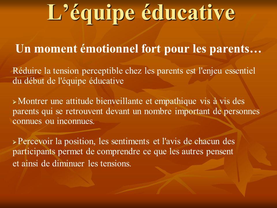 L'équipe éducative Un moment émotionnel fort pour les parents… Réduire la tension perceptible chez les parents est l'enjeu essentiel du début de l'équ