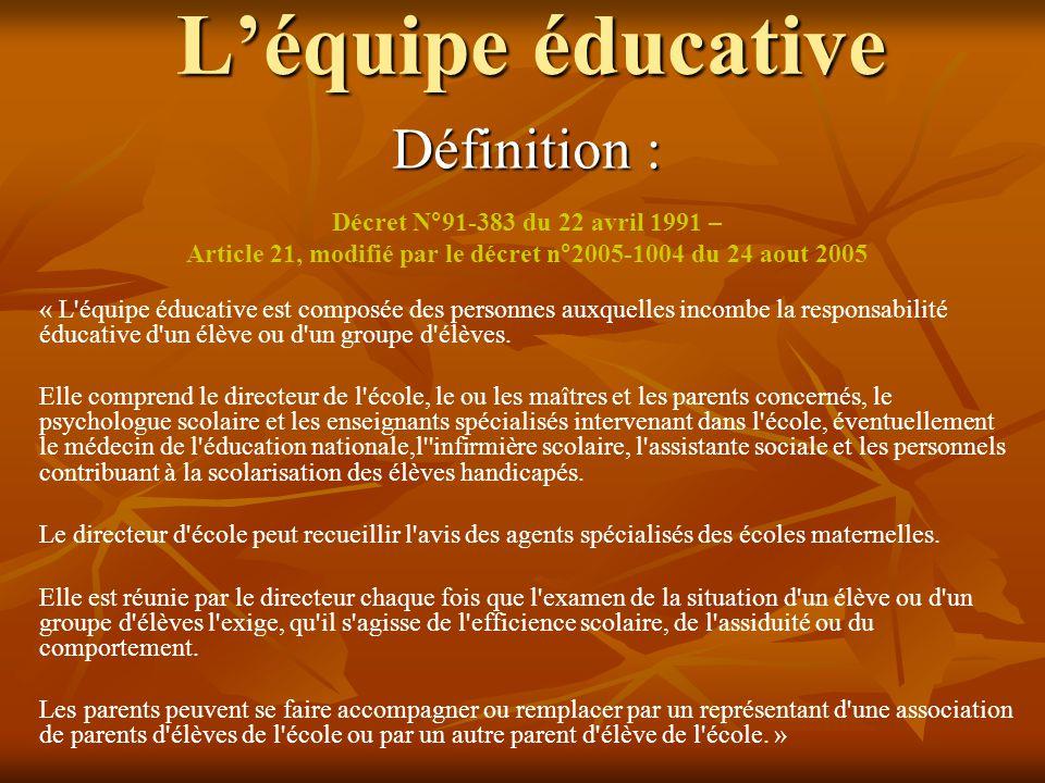 Définition : Décret N°91-383 du 22 avril 1991 – Article 21, modifié par le décret n°2005-1004 du 24 aout 2005 « L'équipe éducative est composée des pe