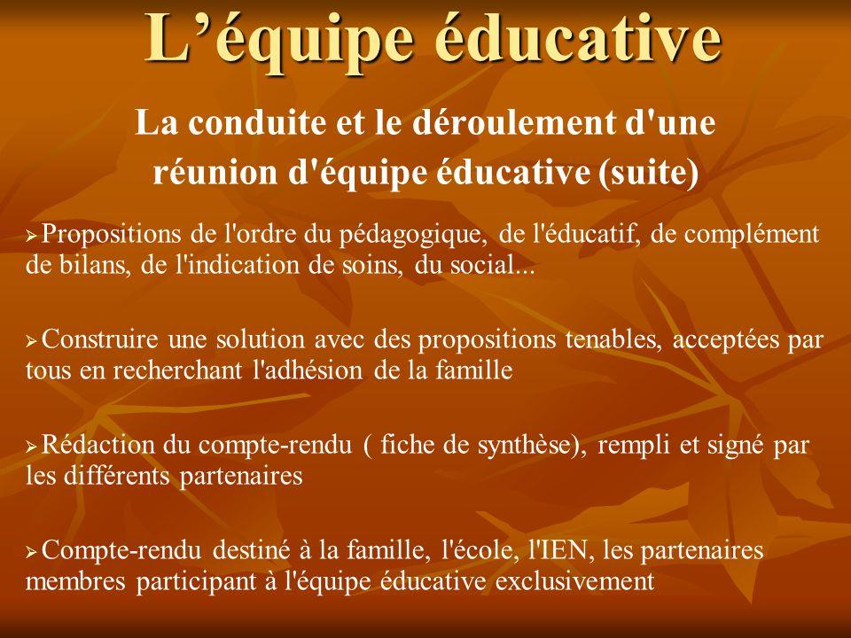 L'équipe éducative La conduite et le déroulement d'une réunion d'équipe éducative (suite)   Propositions de l'ordre du pédagogique, de l'éducatif, d
