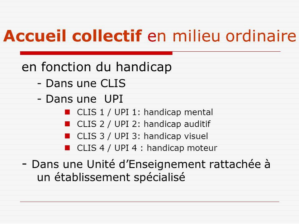 Accueil collectif en milieu ordinaire en fonction du handicap - Dans une CLIS - Dans une UPI CLIS 1 / UPI 1: handicap mental CLIS 2 / UPI 2: handicap auditif CLIS 3 / UPI 3: handicap visuel CLIS 4 / UPI 4 : handicap moteur - Dans une Unité d'Enseignement rattachée à un établissement spécialisé