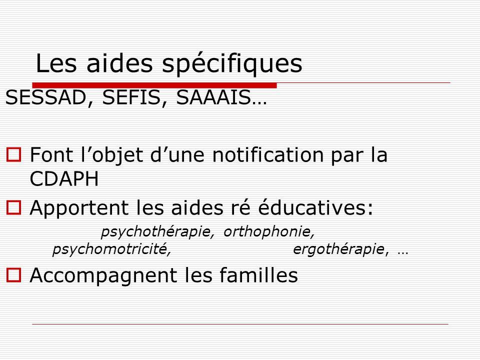 Les aides spécifiques SESSAD, SEFIS, SAAAIS…  Font l'objet d'une notification par la CDAPH  Apportent les aides ré éducatives: psychothérapie, orthophonie, psychomotricité, ergothérapie, …  Accompagnent les familles