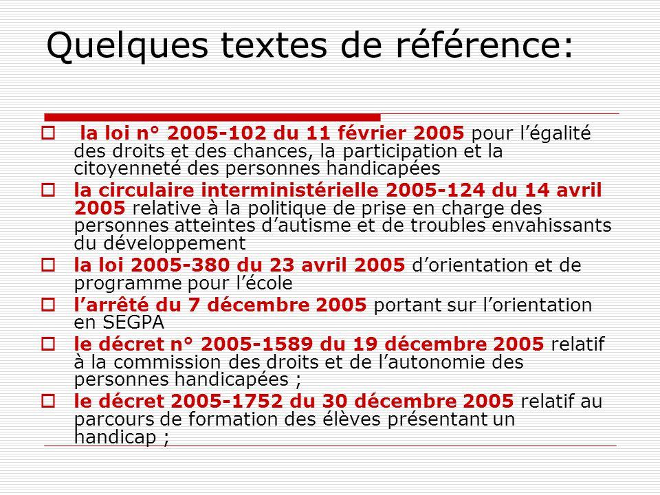 Quelques textes de référence:  la loi n° 2005-102 du 11 février 2005 pour l'égalité des droits et des chances, la participation et la citoyenneté des personnes handicapées  la circulaire interministérielle 2005-124 du 14 avril 2005 relative à la politique de prise en charge des personnes atteintes d'autisme et de troubles envahissants du développement  la loi 2005-380 du 23 avril 2005 d'orientation et de programme pour l'école  l'arrêté du 7 décembre 2005 portant sur l'orientation en SEGPA  le décret n° 2005-1589 du 19 décembre 2005 relatif à la commission des droits et de l'autonomie des personnes handicapées ;  le décret 2005-1752 du 30 décembre 2005 relatif au parcours de formation des élèves présentant un handicap ;