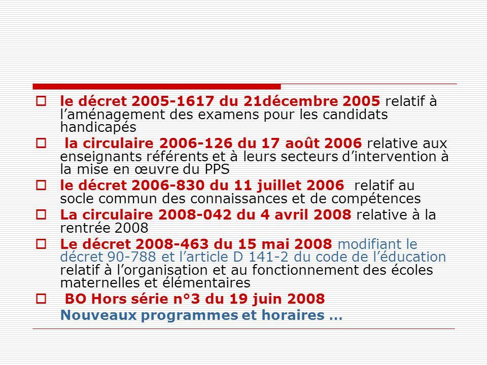  le décret 2005-1617 du 21décembre 2005 relatif à l'aménagement des examens pour les candidats handicapés  la circulaire 2006-126 du 17 août 2006 relative aux enseignants référents et à leurs secteurs d'intervention à la mise en œuvre du PPS  le décret 2006-830 du 11 juillet 2006 relatif au socle commun des connaissances et de compétences  La circulaire 2008-042 du 4 avril 2008 relative à la rentrée 2008  Le décret 2008-463 du 15 mai 2008 modifiant le décret 90-788 et l'article D 141-2 du code de l'éducation relatif à l'organisation et au fonctionnement des écoles maternelles et élémentaires  BO Hors série n°3 du 19 juin 2008 Nouveaux programmes et horaires …