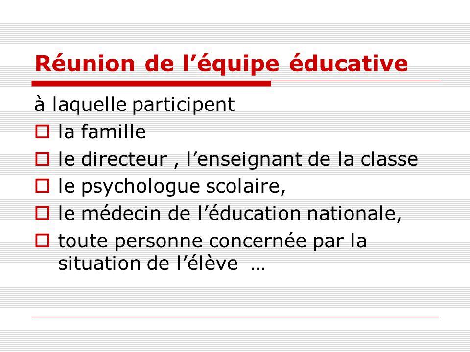 Réunion de l'équipe éducative à laquelle participent  la famille  le directeur, l'enseignant de la classe  le psychologue scolaire,  le médecin de l'éducation nationale,  toute personne concernée par la situation de l'élève …