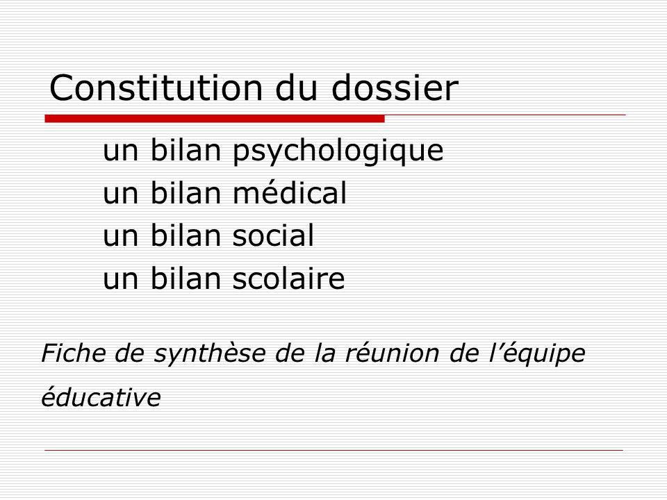 Constitution du dossier un bilan psychologique un bilan médical un bilan social un bilan scolaire Fiche de synthèse de la réunion de l'équipe éducative