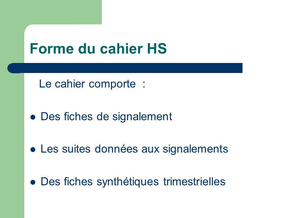 Forme du cahier HS Le cahier comporte : Des fiches de signalement Les suites données aux signalements Des fiches synthétiques trimestrielles