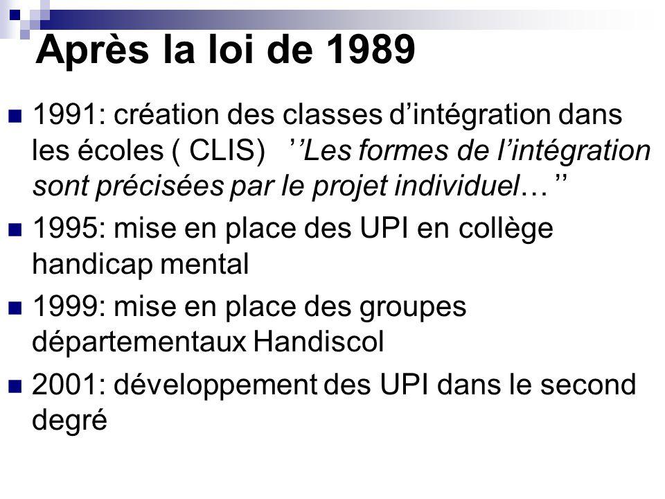 Après la loi de 1989 1991: création des classes d'intégration dans les écoles ( CLIS) ''Les formes de l'intégration sont précisées par le projet individuel… '' 1995: mise en place des UPI en collège handicap mental 1999: mise en place des groupes départementaux Handiscol 2001: développement des UPI dans le second degré