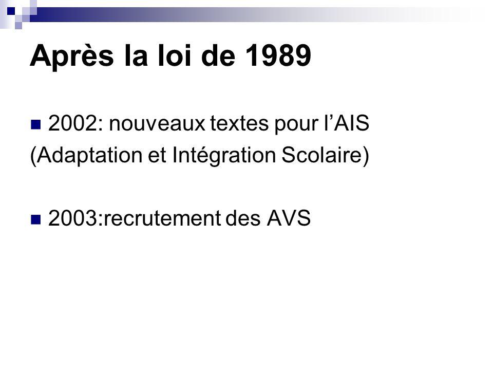 Après la loi de 1989 2002: nouveaux textes pour l'AIS (Adaptation et Intégration Scolaire) 2003:recrutement des AVS