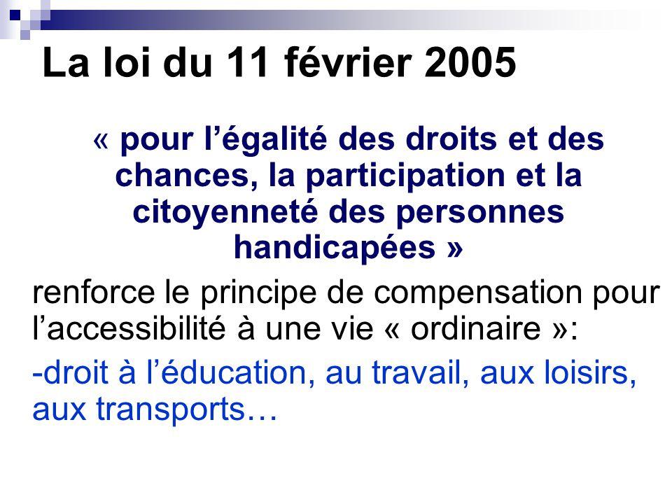 La loi du 11 février 2005 « pour l'égalité des droits et des chances, la participation et la citoyenneté des personnes handicapées » renforce le principe de compensation pour l'accessibilité à une vie « ordinaire »: -droit à l'éducation, au travail, aux loisirs, aux transports…