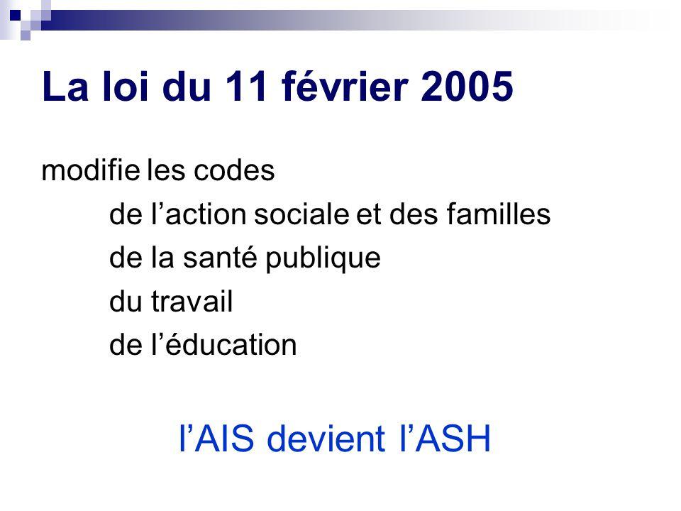 La loi du 11 février 2005 modifie les codes de l'action sociale et des familles de la santé publique du travail de l'éducation l'AIS devient l'ASH