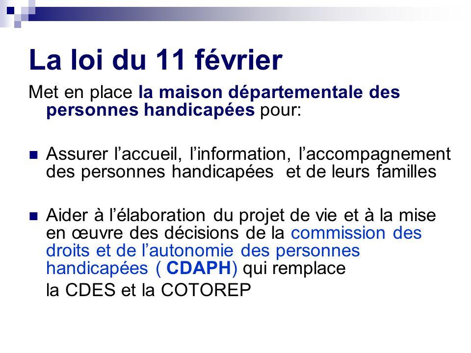 La loi du 11 février Met en place la maison départementale des personnes handicapées pour: Assurer l'accueil, l'information, l'accompagnement des pers