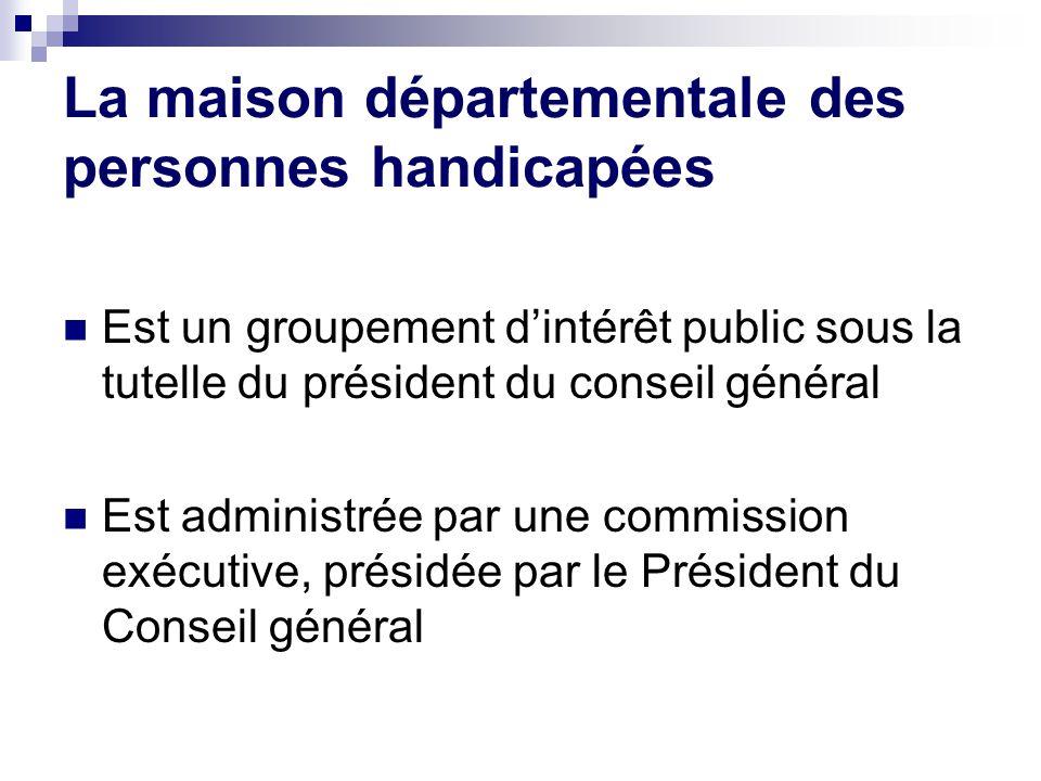 La maison départementale des personnes handicapées Est un groupement d'intérêt public sous la tutelle du président du conseil général Est administrée