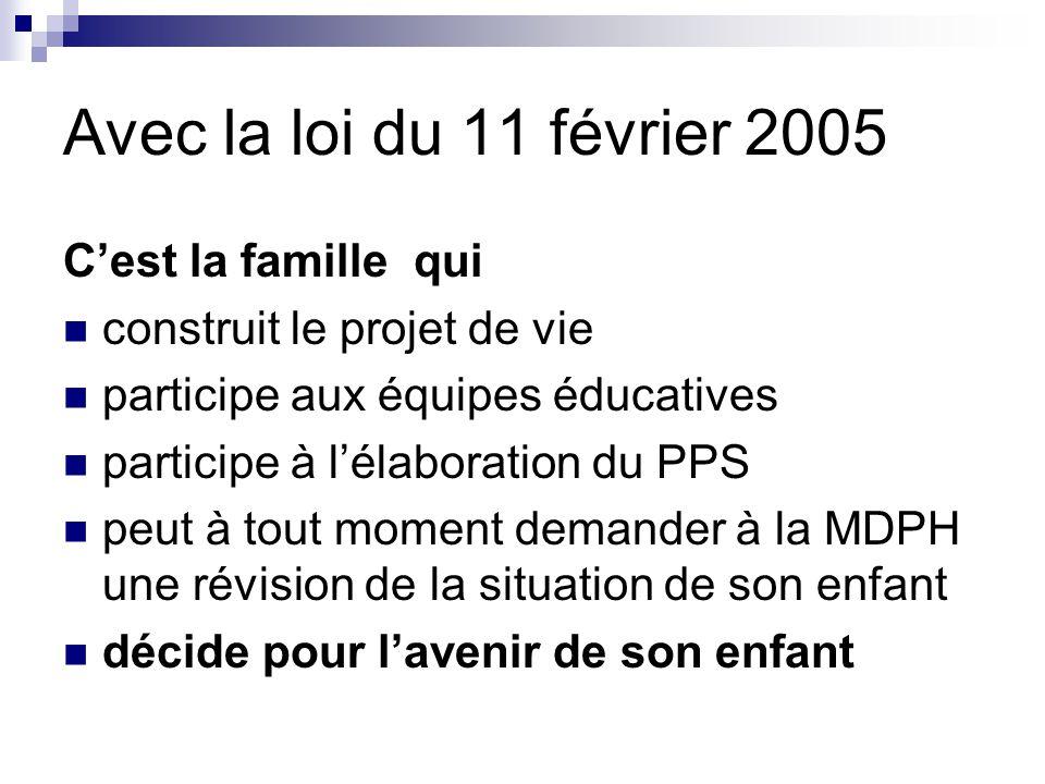 Avec la loi du 11 février 2005 C'est la famille qui construit le projet de vie participe aux équipes éducatives participe à l'élaboration du PPS peut à tout moment demander à la MDPH une révision de la situation de son enfant décide pour l'avenir de son enfant