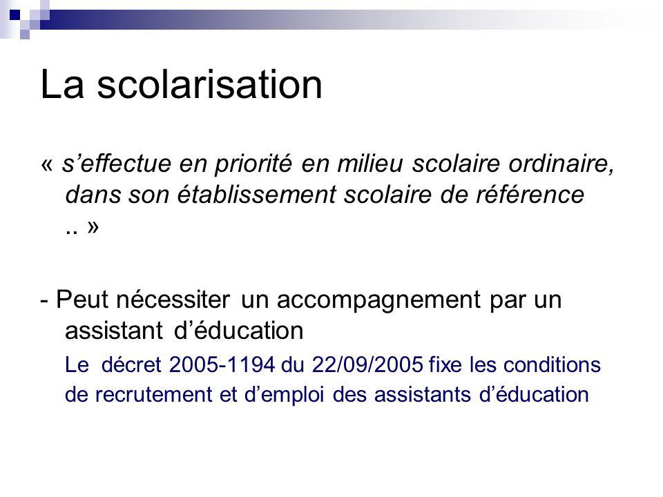 La scolarisation « s'effectue en priorité en milieu scolaire ordinaire, dans son établissement scolaire de référence.. » - Peut nécessiter un accompag