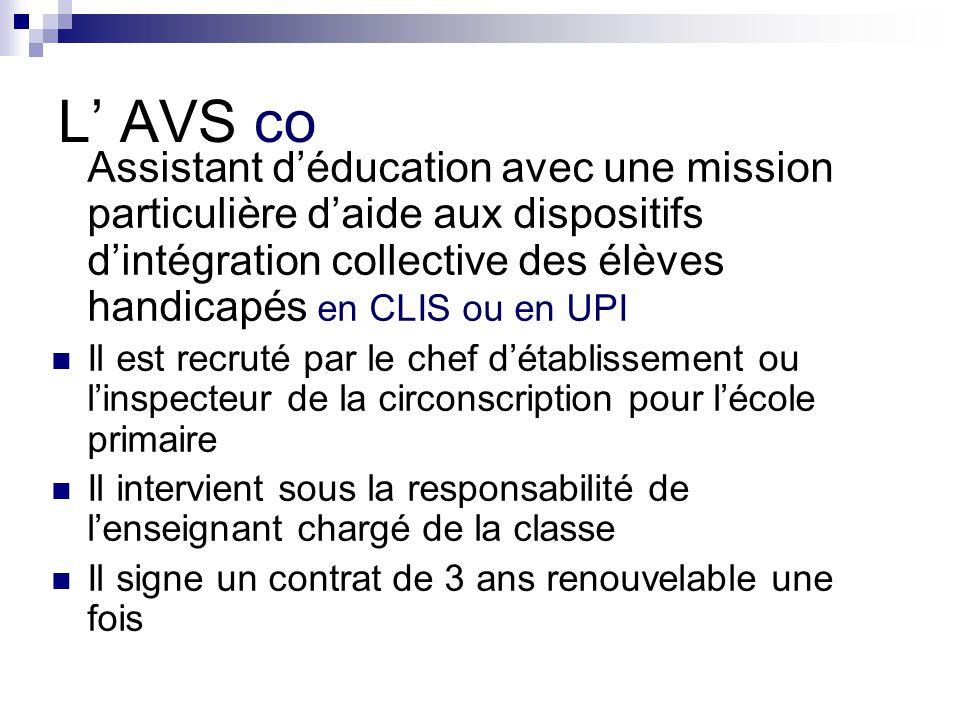 L' AVS co Assistant d'éducation avec une mission particulière d'aide aux dispositifs d'intégration collective des élèves handicapés en CLIS ou en UPI