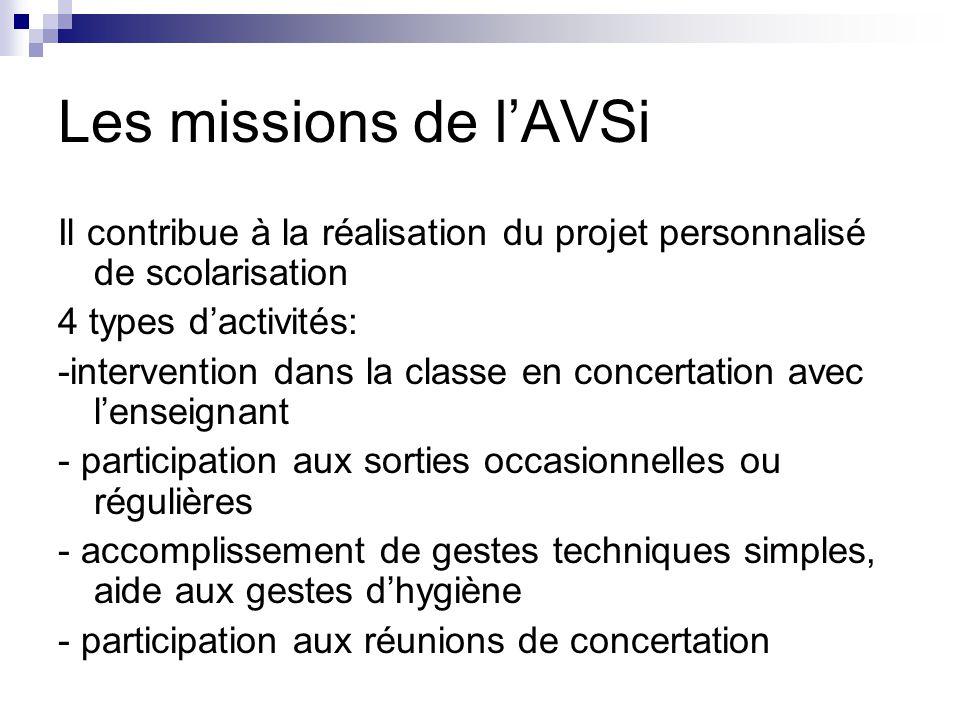 Les missions de l'AVSi Il contribue à la réalisation du projet personnalisé de scolarisation 4 types d'activités: -intervention dans la classe en conc