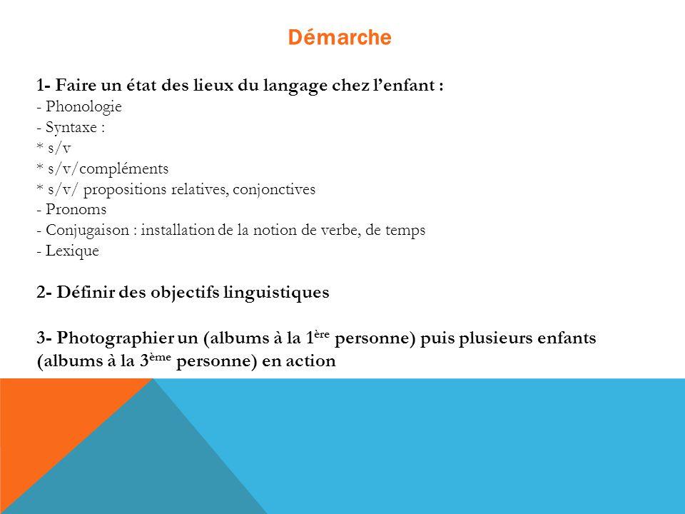 Démarche 1- Faire un état des lieux du langage chez l'enfant : - Phonologie - Syntaxe : * s/v * s/v/compléments * s/v/ propositions relatives, conjonc