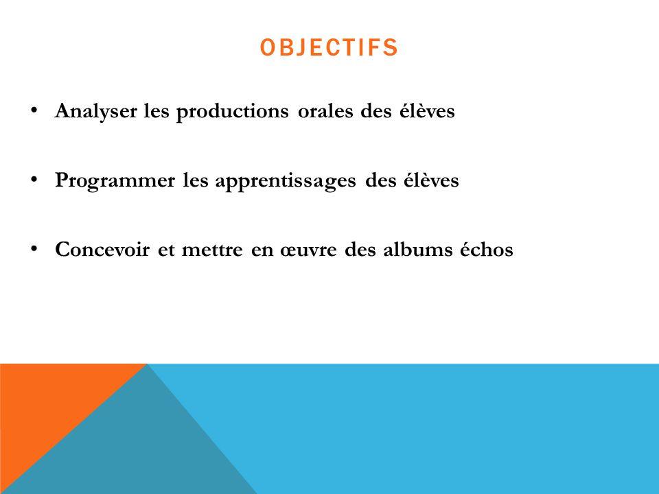 OBJECTIFS Analyser les productions orales des élèves Programmer les apprentissages des élèves Concevoir et mettre en œuvre des albums échos