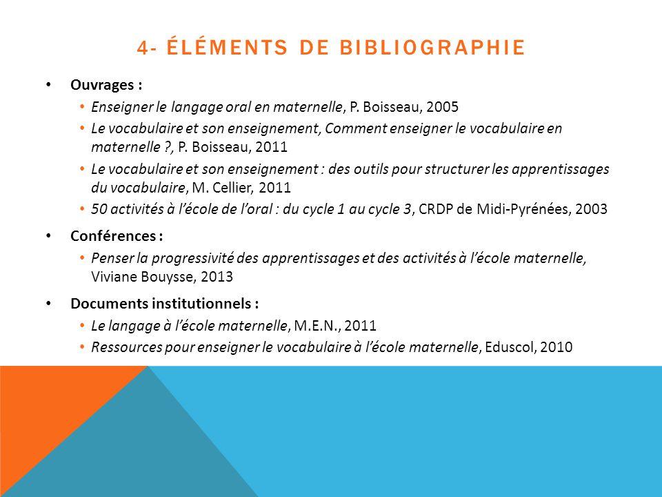 4- ÉLÉMENTS DE BIBLIOGRAPHIE Ouvrages : Enseigner le langage oral en maternelle, P. Boisseau, 2005 Le vocabulaire et son enseignement, Comment enseign