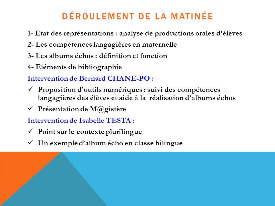 DÉROULEMENT DE LA MATINÉE 1- Etat des représentations : analyse de productions orales d'élèves 2- Les compétences langagières en maternelle 3- Les alb