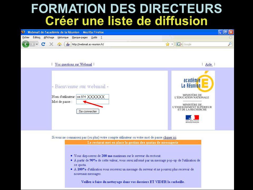 FORMATION DES DIRECTEURS XXXXXX Créer une liste de diffusion